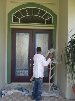 Re-Staining Front Steps in  Palm Beach FL